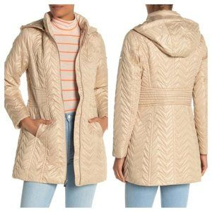 NWT Via Spiga S Zig-Zag Quilted Jacket Coat Hooded